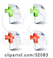 Set Of Four Lined And Blank Pages With Green And Red Plus And Addition Symbols On A White Background