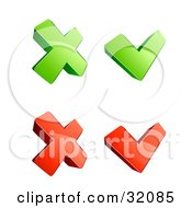 Set Of Four 3d Green And Red X And Check Mark Icons On A White Background