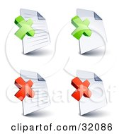 Set Of Four Lined And Blank Pages With Green And Red X Marks On A White Background