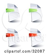 Set Of Four Lined And Blank Pages With Green And Red Minus And Subtraction Symbols On A White Background