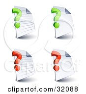 Set Of Four Lined And Blank Pages With Green And Red Question Marks On A White Background