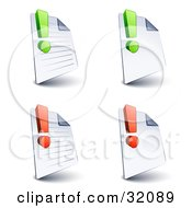 Set Of Four Lined And Blank Pages With Green And Red Exclamation Points On A White Background