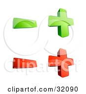 Clipart Illustration Of A Set Of Four 3d Green And Red Plus And Minus Signs On A White Background