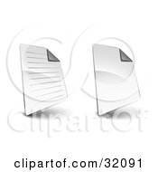 Clipart Illustration Of Two Lined And Blank Sheets Of Paper With The Top Corners Folded With Shadows On A White Background by beboy