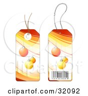 Two Sides Of A Yellow And Orange Christmas Ornament Sales Price Tag With A Barcode