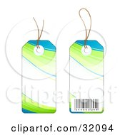 Two Sides Of A Blue Green And White Sales Price Tag With A Barcode