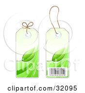 Two Sides Of A Green Leaf Sales Price Tag With A Barcode