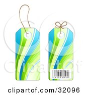 Two Sides Of A Blue And Green Wave Design Sales Price Tag With A Barcode