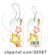 Clipart Illustration Of Two Sides Of A Yellow And Orange Flower Sales Price Tag With A Barcode