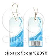Clipart Illustration Of Two Sides Of A Blue Wave Of Water Sales Price Tag With A Barcode