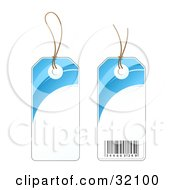 Two Sides Of A Blue And White Sales Price Tag With A Barcode
