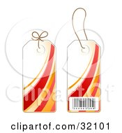 Two Sides Of A Red Orange And White Sales Price Tag With A Barcode