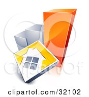 Clipart Illustration Of A White House On A Yellow Block Leaning Against A Silver And Orange Bar Graph Showing An Increase In Home Loans Sales Or Foreclosures