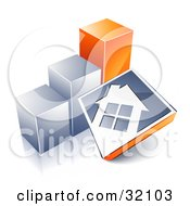 Clipart Illustration Of A White House On A Blue Block Leaning Against A Silver And Orange Bar Graph Showing An Increase In Home Loans Sales Or Foreclosures