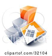Clipart Illustration Of A White House On An Orange Block Leaning Against A Silver And Orange Bar Graph Showing An Increase In Home Loans Sales Or Foreclosures by beboy