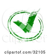 Green Stamp Imprint Of A Green Check Mark In A Circle Symbolizing Approval On A White Background
