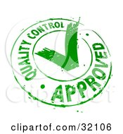 Quality Control Approved Stamp Of A Green Check Mark In A Circle On A White Background