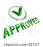 Green Check Mark And Approved Stamp On A White Background