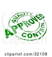 Green Circular Stamp With Quality Control Approved Text Over A White Background