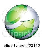 Clipart Illustration Of A Pre Made Logo Of A Green Arrow Circling An Orb Globe
