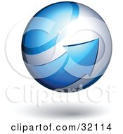 Clipart Illustration Of A Pre Made Logo Of A Blue Arrow Circling An Orb by beboy