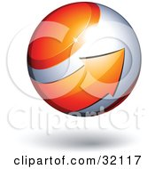 Clipart Illustration Of A Pre Made Logo Of An Orange Arrow Circling An Orb