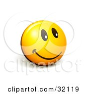 Clipart Illustration Of An Expressive Yellow Smiley Face Emoticon Flashing A Friendly Smile