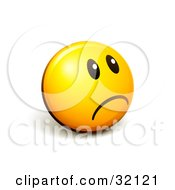 Clipart Illustration Of An Expressive Yellow Smiley Face Emoticon Looking Off To The Right And Frowning Or Pouting