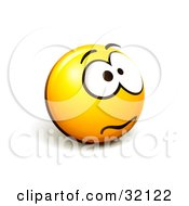 Clipart Illustration Of An Expressive Yellow Smiley Face Emoticon Fretting