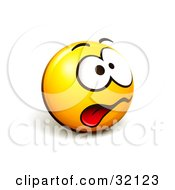 Clipart Illustration Of An Expressive Yellow Smiley Face Emoticon Hanging Its Tongue Out From Stress