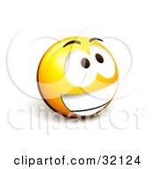 Clipart Illustration Of An Expressive Yellow Smiley Face Emoticon Grinning Excitedly