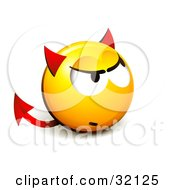 Clipart Illustration Of An Expressive Yellow Smiley Face Emoticon With Devil Ears And A Forked Tail
