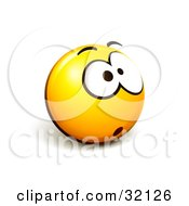 Clipart Illustration Of An Expressive Yellow Smiley Face Emoticon With One Big Eye Stressed Out Or Nervous