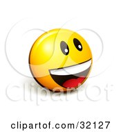 Clipart Illustration Of An Expressive Yellow Smiley Face Emoticon Smiling And Laughing While Having Fun