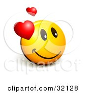 Clipart Illustration Of An Expressive Yellow Smiley Face Emoticon With Hearts Admiring His Crush