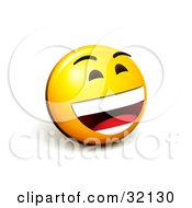 Clipart Illustration Of An Expressive Yellow Smiley Face Emoticon Laughing Out Loud