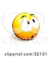 Clipart Illustration Of An Expressive Yellow Smiley Face Emoticon Looking Up Surprised Nervous Or Sad