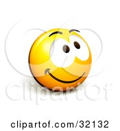 Clipart Illustration Of An Expressive Yellow Smiley Face Emoticon Grinning And Smiling Upwards