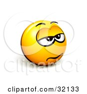 Expressive Yellow Smiley Face Emoticon Looking Grumpy