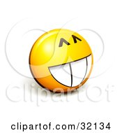 Clipart Illustration Of An Expressive Yellow Smiley Face Emoticon With A Big Grin Looking Innocent