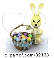 Clipart Illustration Of A 3d Stuffed Yellow Easter Bunny Beside A Basket Of Colorful Eggs On A White Background