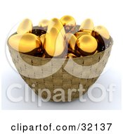 Clipart Illustration Of A 3d Weaved Basket Of Golden Eggs On A White Background