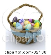 Clipart Illustration Of A Weaved 3d Easter Basket With A Blue Bow Full Of Colorful Eggs by KJ Pargeter
