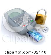 Credit Card Being Scanned By A Machine A Golden Padlock And Keys To The Side Symbolizing Secure Checkout