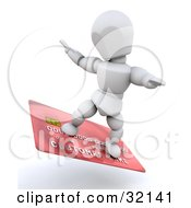 3d White Character Surfing On A Red Credit Card Symbolizing Being Debt Free Or Credit Approval