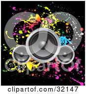 Clipart Illustration Of Three Speakers Over A Black Background With Colorful Splatters by KJ Pargeter