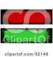 Two Green And Blue Grunge Labels With Black Borders Vines And Circles