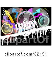 Clipart Illustration Of A Crowd Dancing Silhouetted In White On A Grunge Bar Over A Black Background With Colorful Speakers Dots Music Notes And Arrows