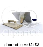 Clipart Illustration Of Three Handled Trowel And Plaster Tools