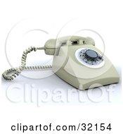Clipart Illustration Of A Beige Rotary Landline Desk Phone by KJ Pargeter